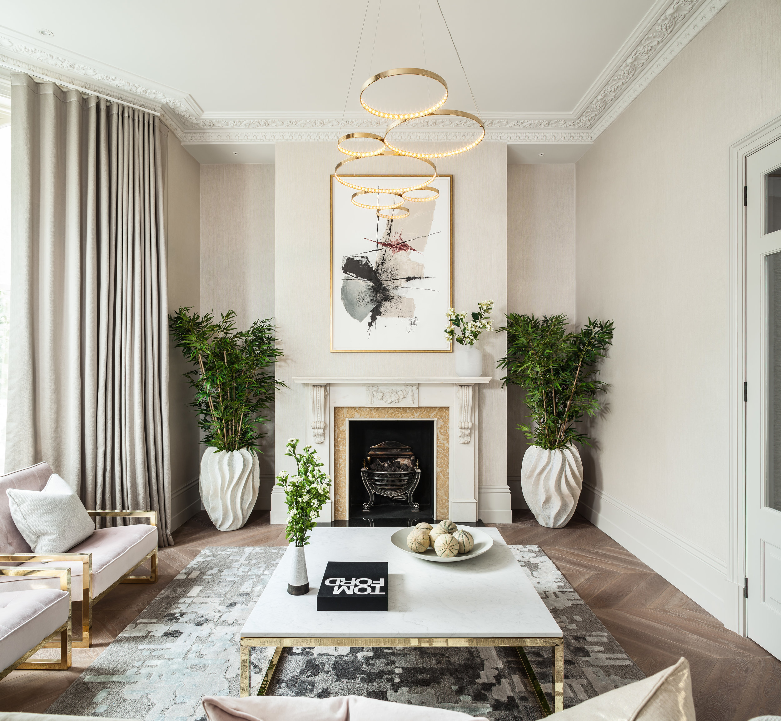 Jo Hamilton Interiors - Observatory Gardens, Kensington, lounge and fireplace