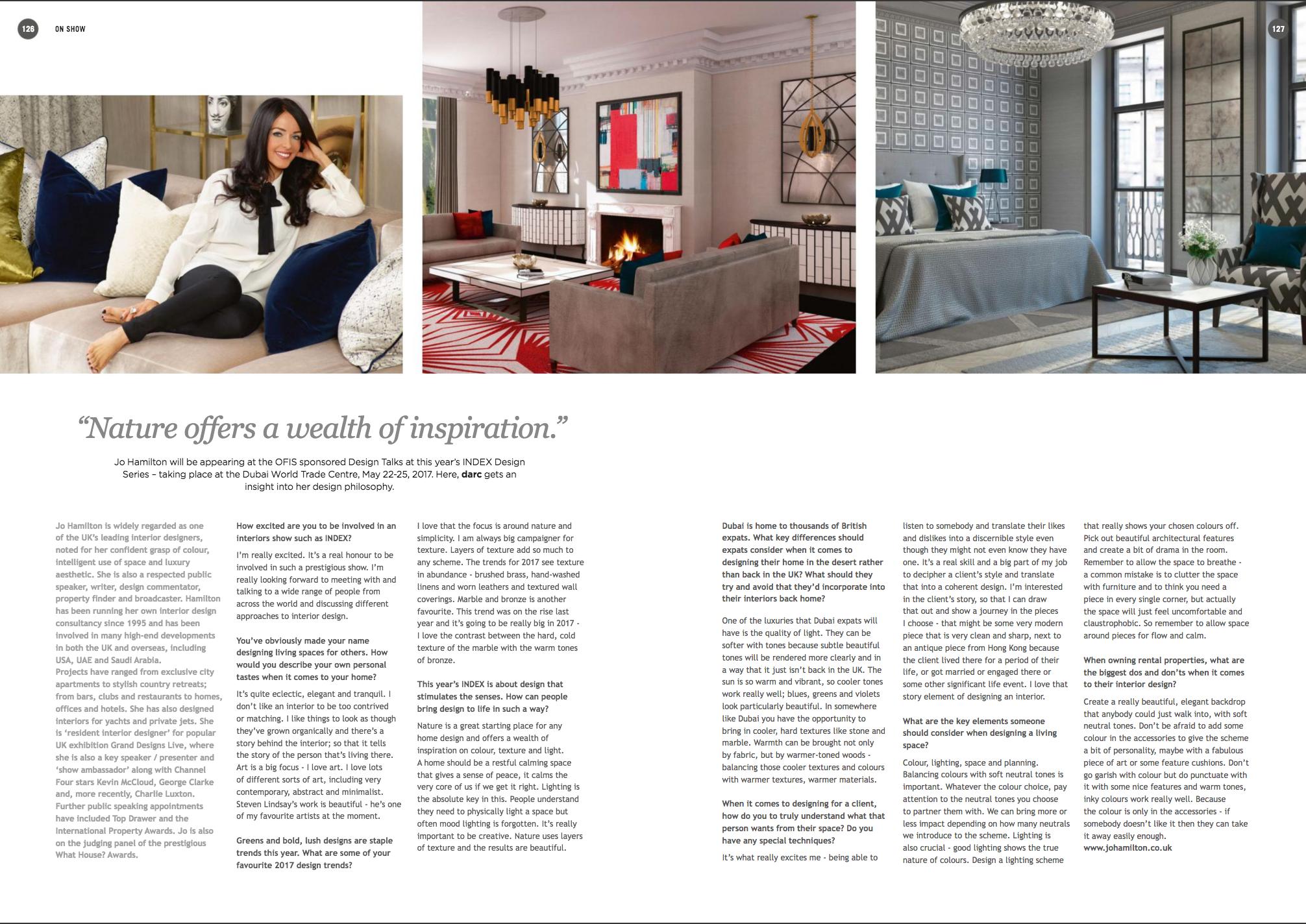 Luxury interior designer Jo Hamilton interview with Darc magazine ahead of Index Dubai 2017