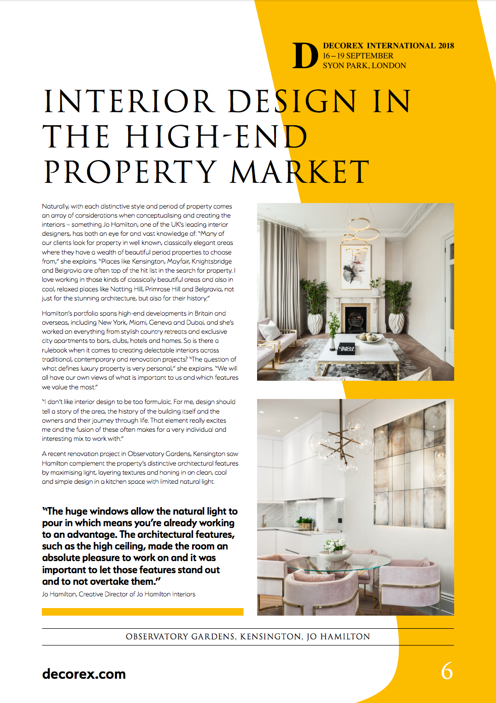 Decorex report featuring luxury interior designer Jo Hamilton inside
