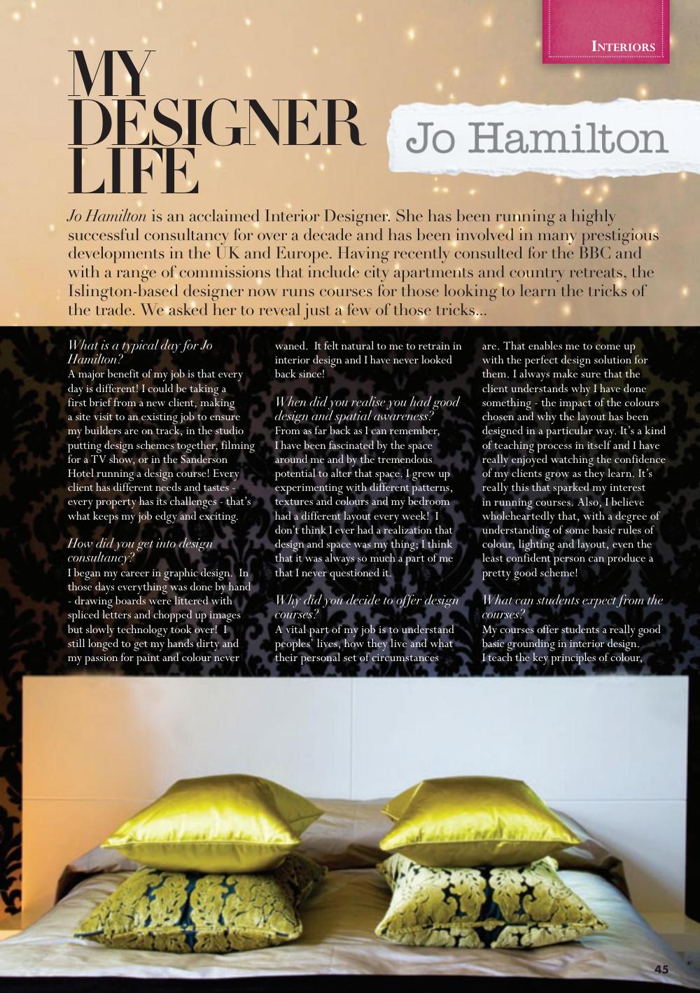 Luxury interior designer Jo Hamilton feature in North By Northwest magazine. High-end London interior designer Jo Hamilton interview