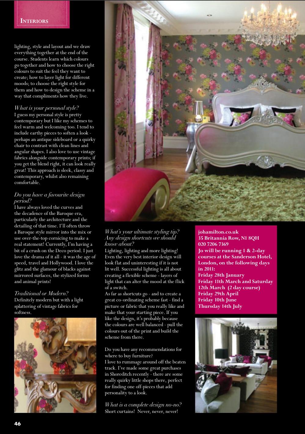 High-end London interior designer Jo Hamilton North By Northwest magazine