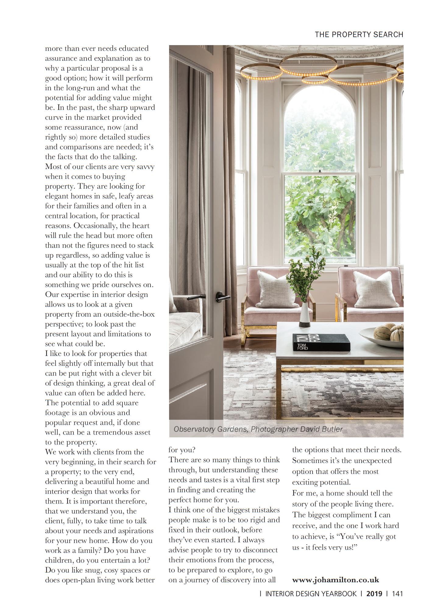 Interior Design Yearbook 2019 featuring luxury interior designer Jo Hamilton - consumer edition page 141