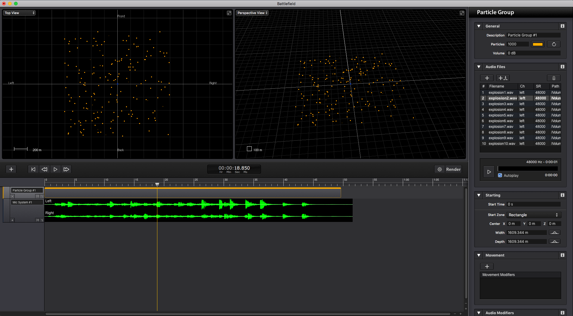 Sound Particles interface. Nice, clean and responsive.
