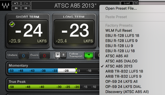 "Here you can see the ATSC options on WLM. The first two would be pre 2013, using either dialogue detection or the whole mix to calculate the integrated time. The third, called ""2013"" used the gated method ala Europe."