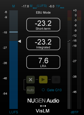 Nugen´s VisLM Plugin operating in EBU mode. You can see all the common EBU features including all time windows, loudness range and a gate indicator.