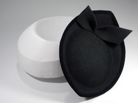 Anna Dominoes Vauxhall  hat of black felt bound in velvet ribbon, formed on a hand made block