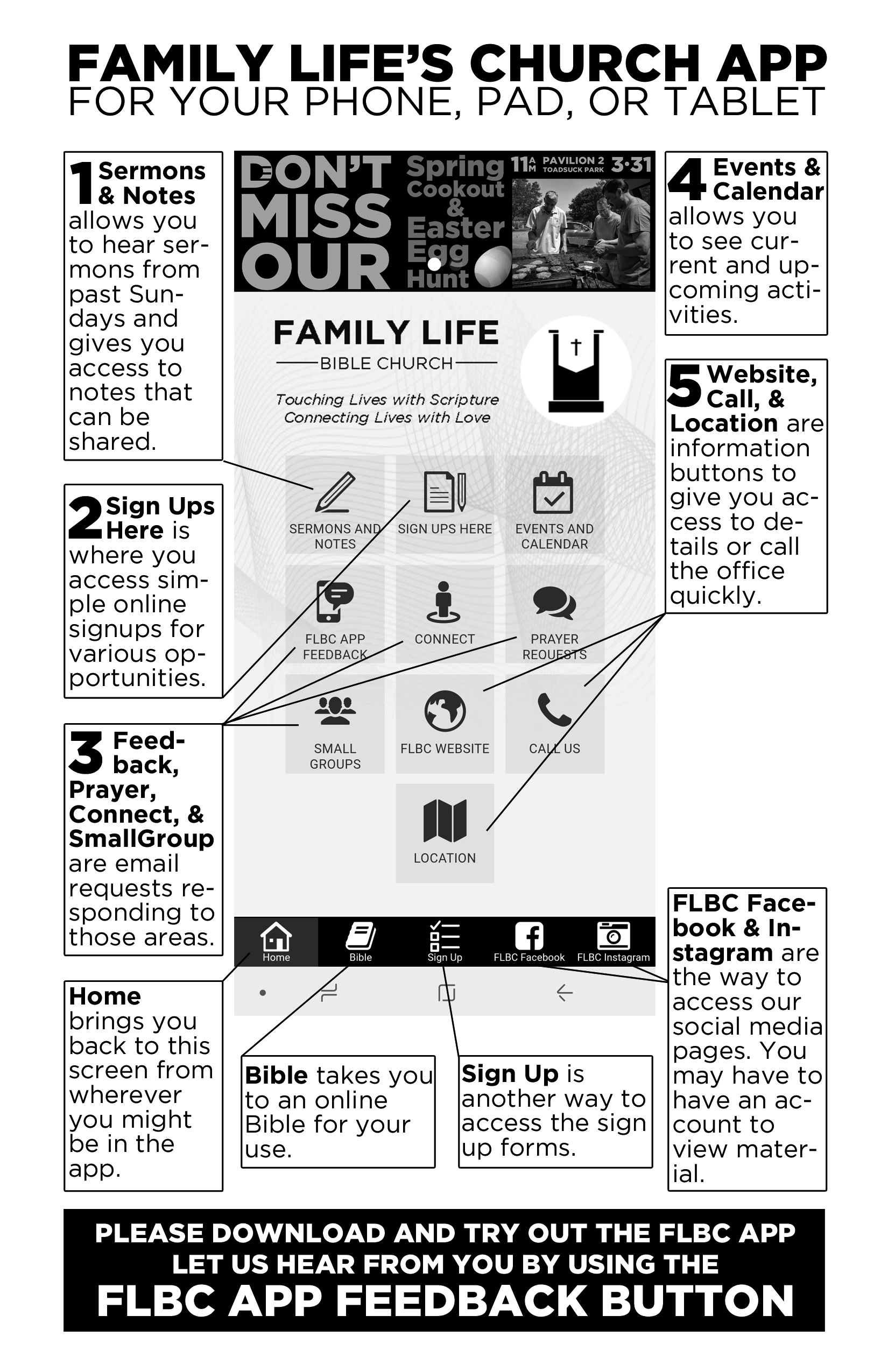 Using Our App - Once added to your device you can try out the features on Family Life's app. Use this guide to help you get started. There will be some new features added from time to time.