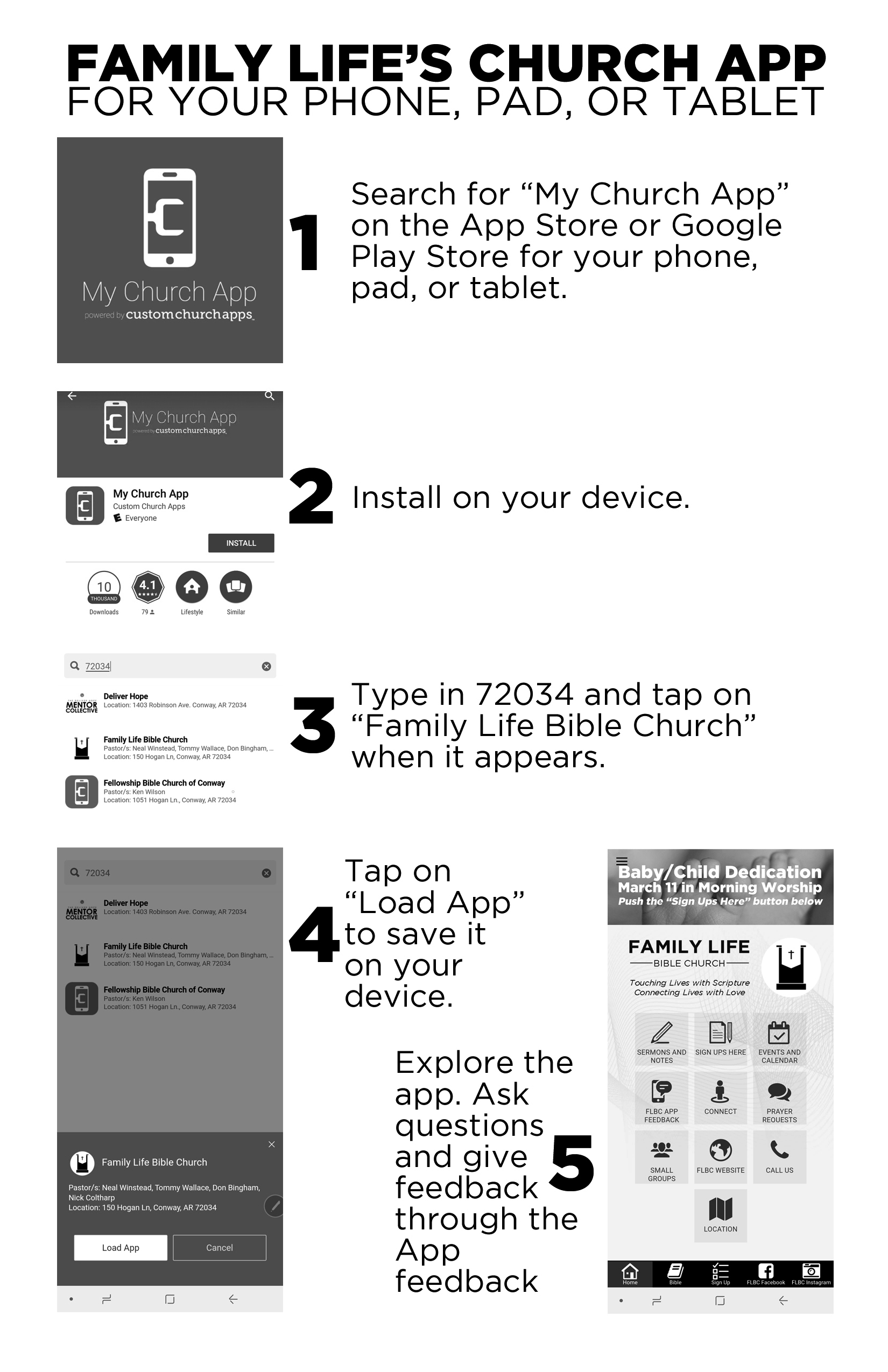 Adding Our App - Follow the instructions in the diagram. You can get started by following these links:For iPhone and iPad click here.For Android devices click here.Once there simply follow the steps found here. If you have questions you may contact us at familylifebc@gmail.com.