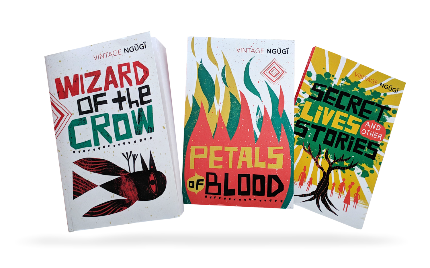Hand Lettering and illustrations for Ngugi wa Thiong'o book covers; Wizard of the Crow, Petals of Blood, Secret Lives and Other Stories
