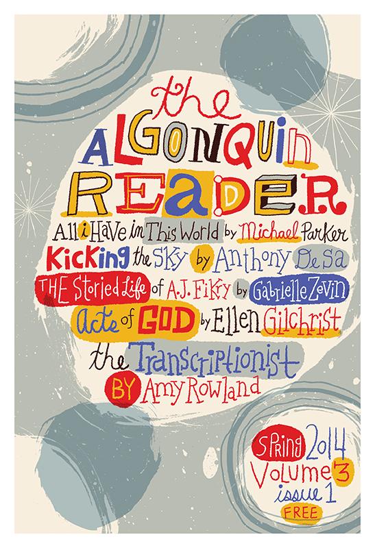 Cover illustration and lettering for Algoniquin Reader