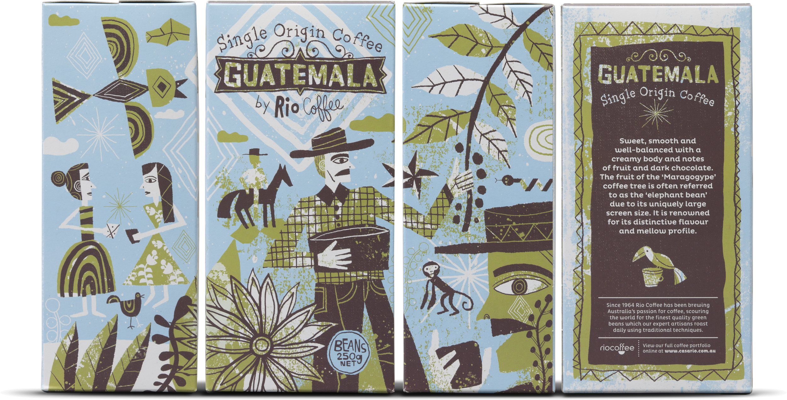 Award winning illustration and design for Rio Coffee's Guatemalan coffee packaging. This won a Silver Pentawards and was featured on many design and typography websites and book
