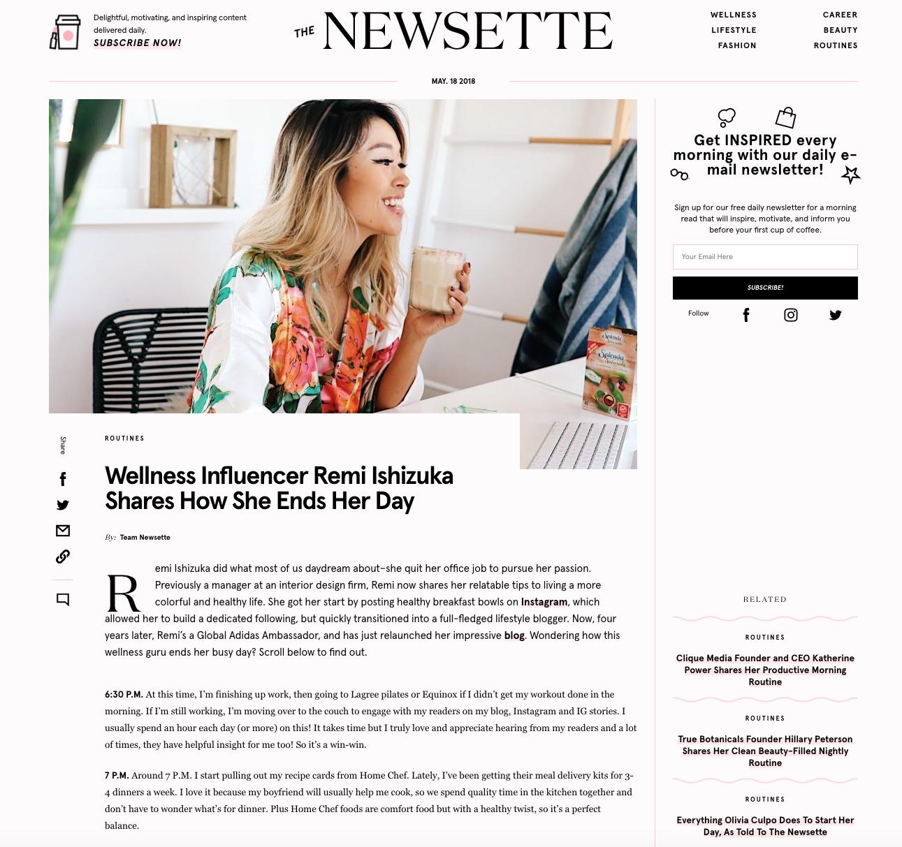 """WELLNESS INFLUENCER REMI ISHIZUKA SHARES HOW SHE ENDS HER DAY""    THENEWSETTE.COM"