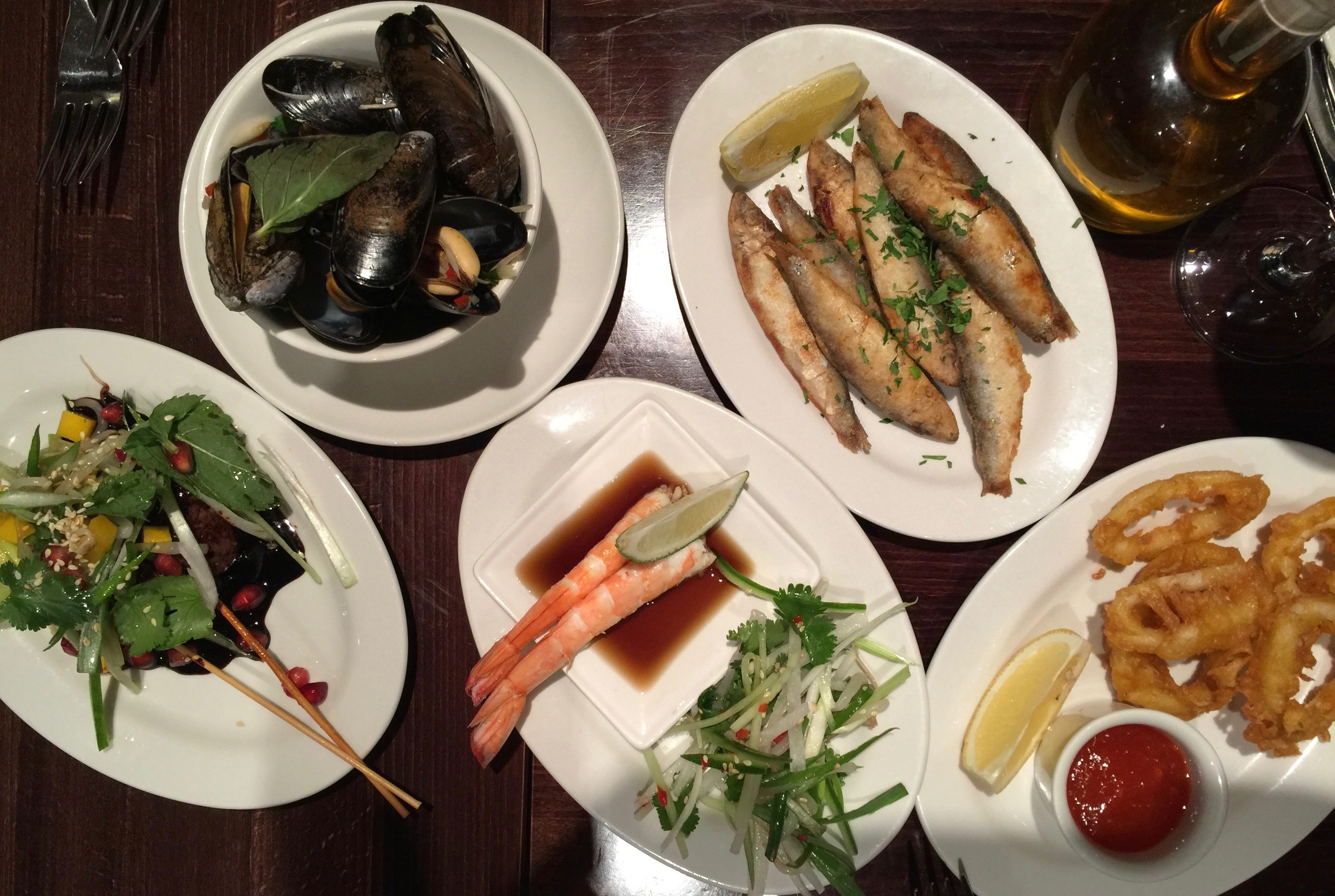 Webbe's offers small tasting dishes, so we shared Mussels with lemon grass, chili and coriander; Fried Sardines; Tempura battered calamari with chili jam; Prawns with soy & Thai salad;and Beef skewers with tamarind, soy sauce, pomegranate &mango salad.