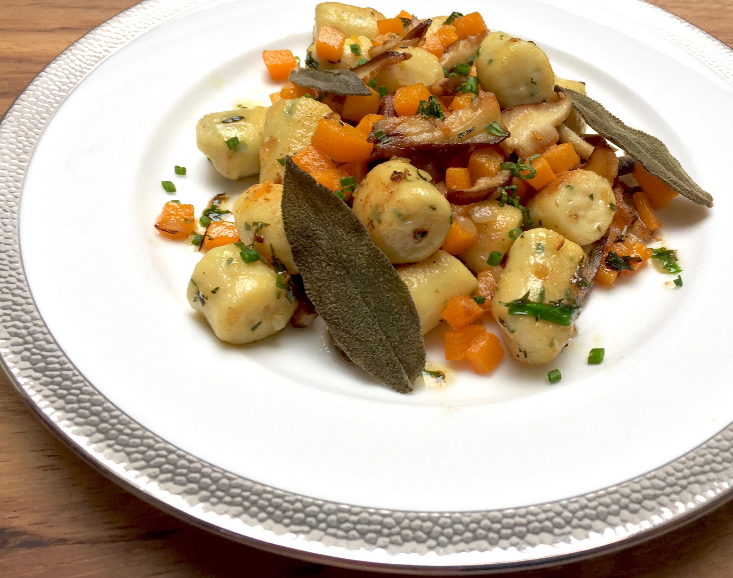 A mouthwatering plate of herbed cheese gnocchi!
