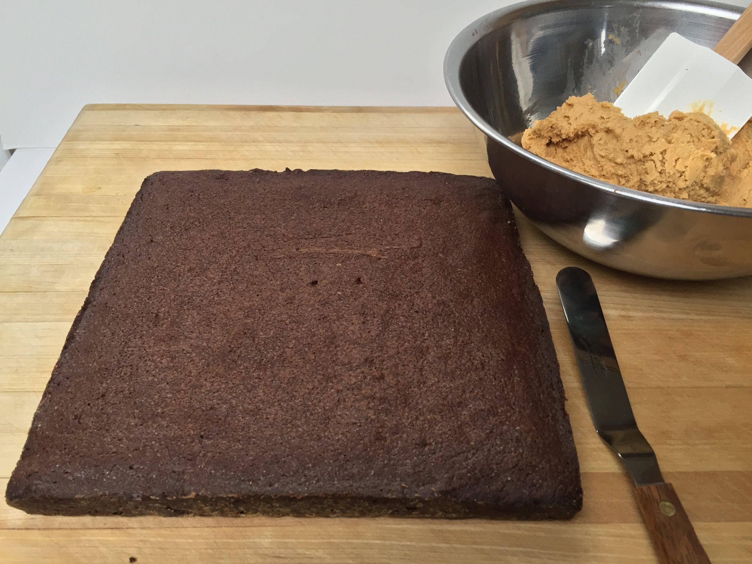 Brownie awaiting frosting.