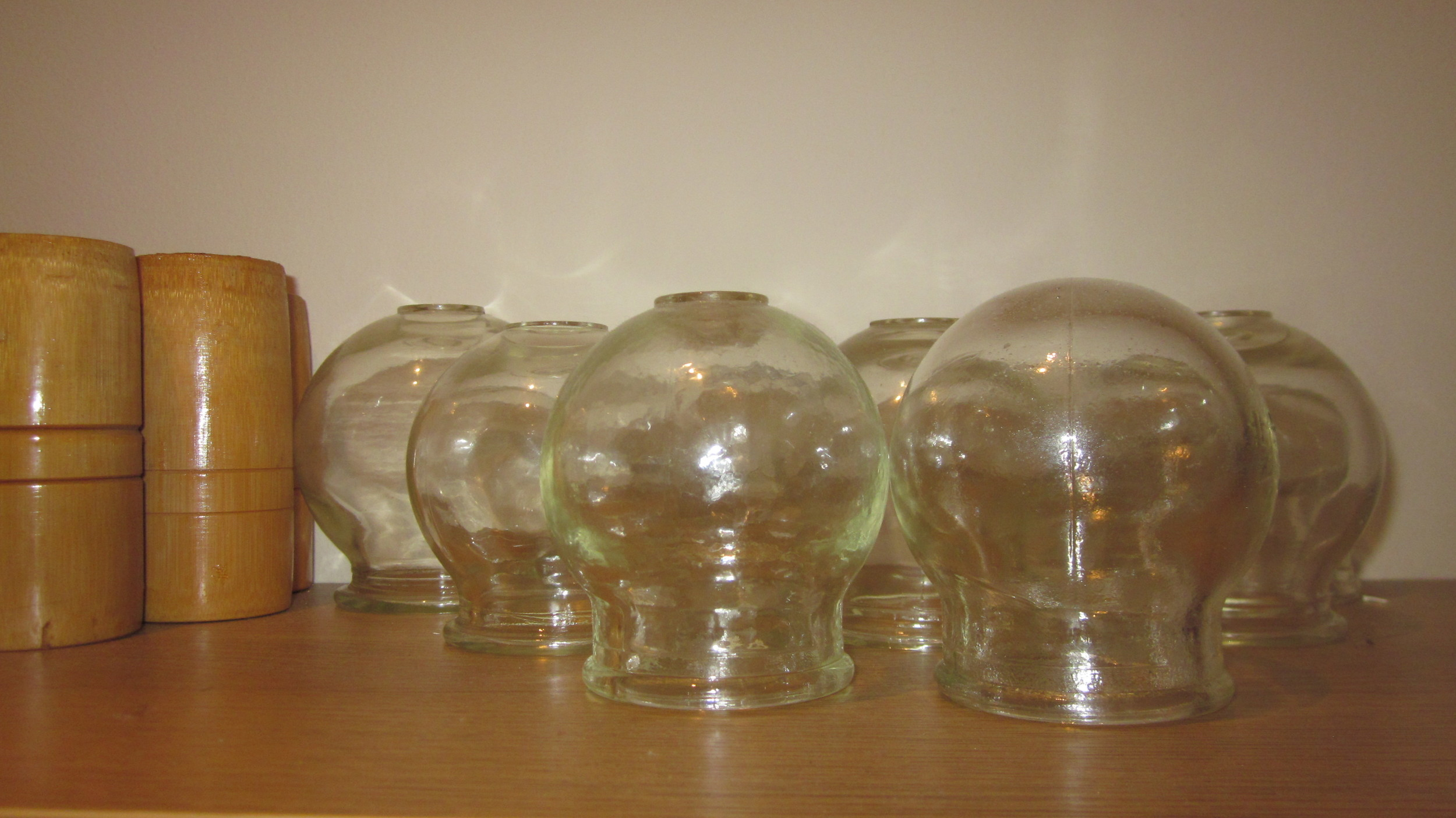 Glass and bamboo cups