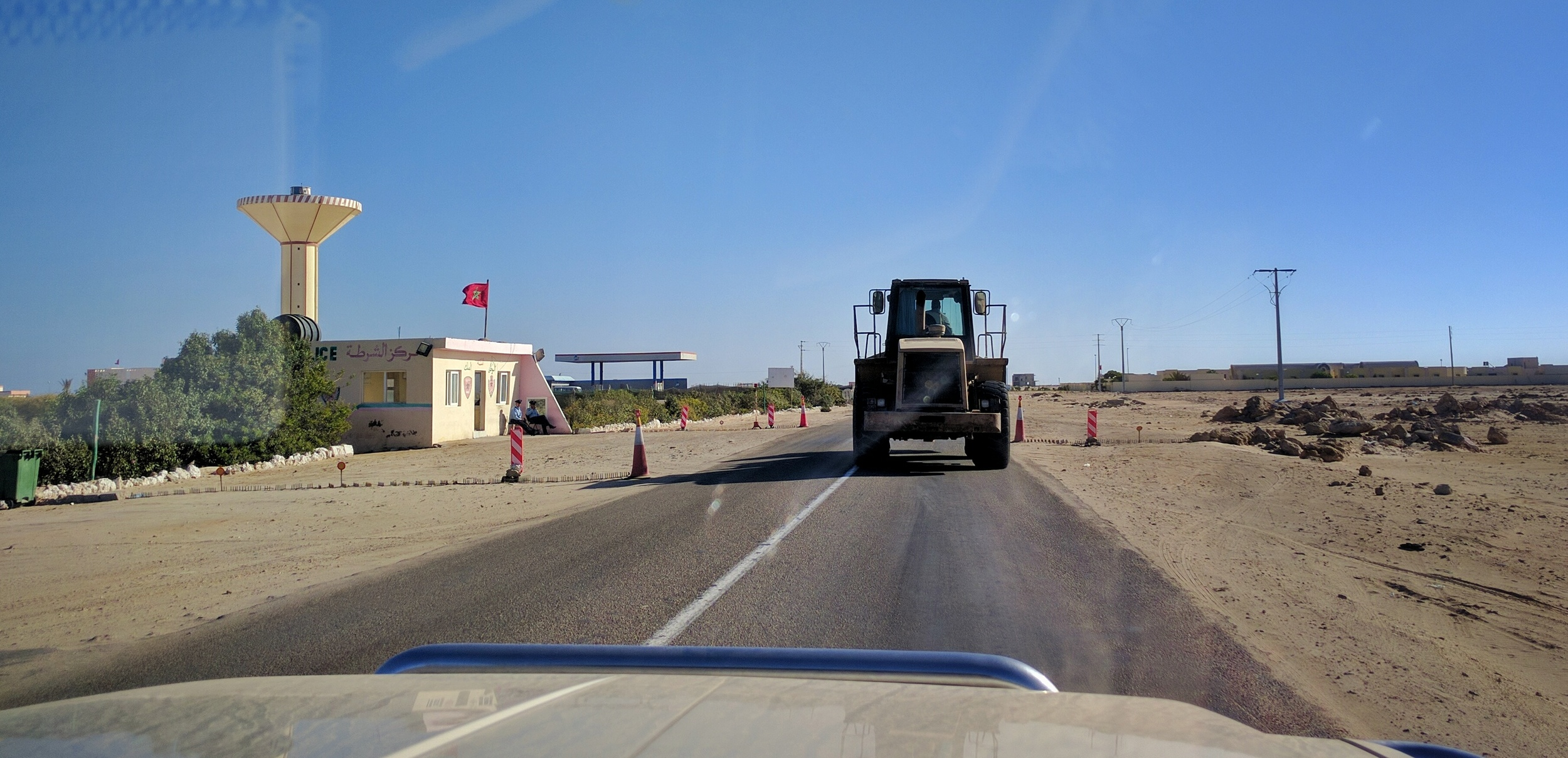 Moroccan police checkpoint, a hitchhiker's dream.