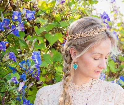 Custom crown and turquoise earings