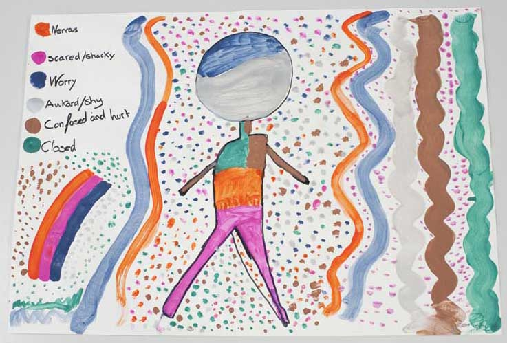 The body map: A2 cartridge paper, acrylic and pen