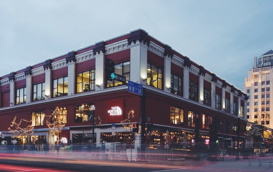 The historic  Mode Building , following renovations; featuring the LEED Gold certified The North Face store