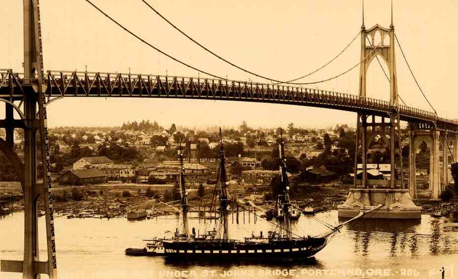 1933 St Johns Bridge-ussconstitution-Old Ironsides + view of Mills.jpg