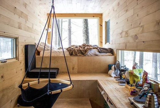 Interior image of Getaway tiny home via getaway.house/portland.