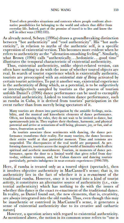 """Wang, N. (1999). """" RETHINKING AUTHENTICITY IN TOURISM EXPERIENCE ."""" Annals of Tourism Research  26 (2): 349-370."""