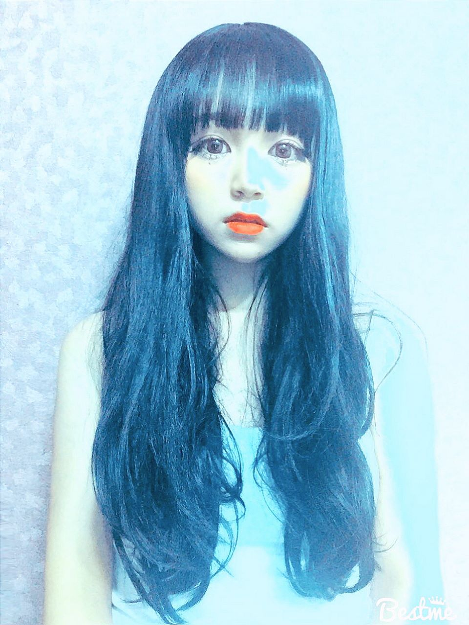 """Fig. 18 -- Hye-ji's """"Best Me"""" picture from her Facebook picture albums,with wig, generous application of the """"Liquefy"""" filter in Photoshop, and creative color filters. Notably, Hye-ji has no pictures of herself on social media without this significant alteration of her eyes. In fact, this unrealistic feature in her pictures is one of the distinguishing (and possibly defining)aspects of her portraits and self-portraits."""