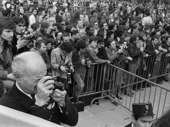 Henri Cartier-Bresson shooting amongst the crows in 1974.
