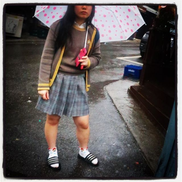 Korean student rain gear. Socks and slippers will not be stopped.