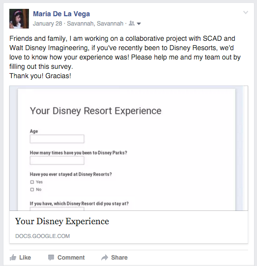 Facebook post for our survey