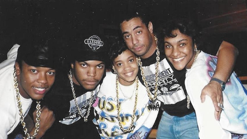 From left: Dr. Dre, Eazy-E, Baby D, MC Ren, MC JB. Photo courtesy Juana Sperling.
