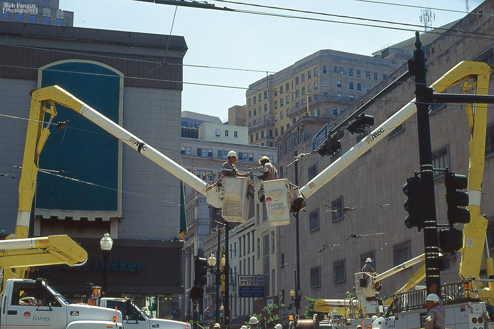 Workers connecting the Canal Street Streetcar line, 2003. Shot on Kodak Elite Chrome 200