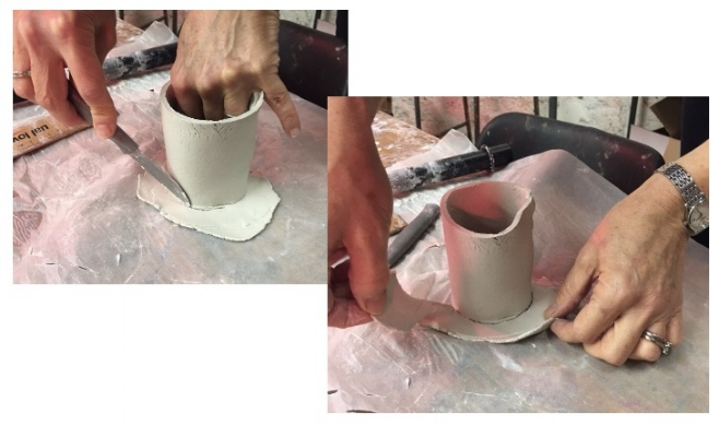 4. Roll out another piece of clay to the same thickness and place the cylinder on top. Cut out a circle from the shape of the cylinder.