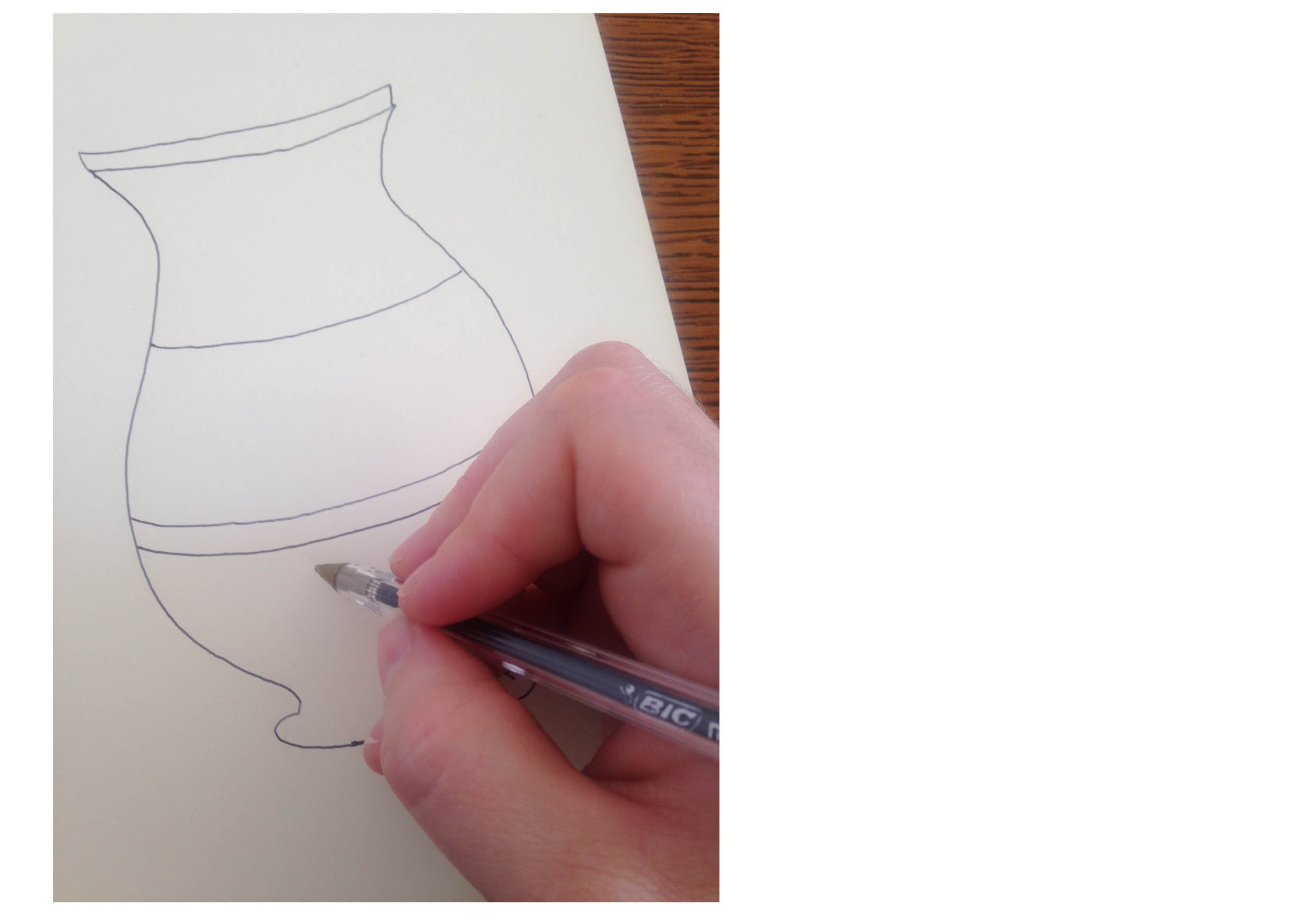 Step 2: - Divide the object or shape into sections.