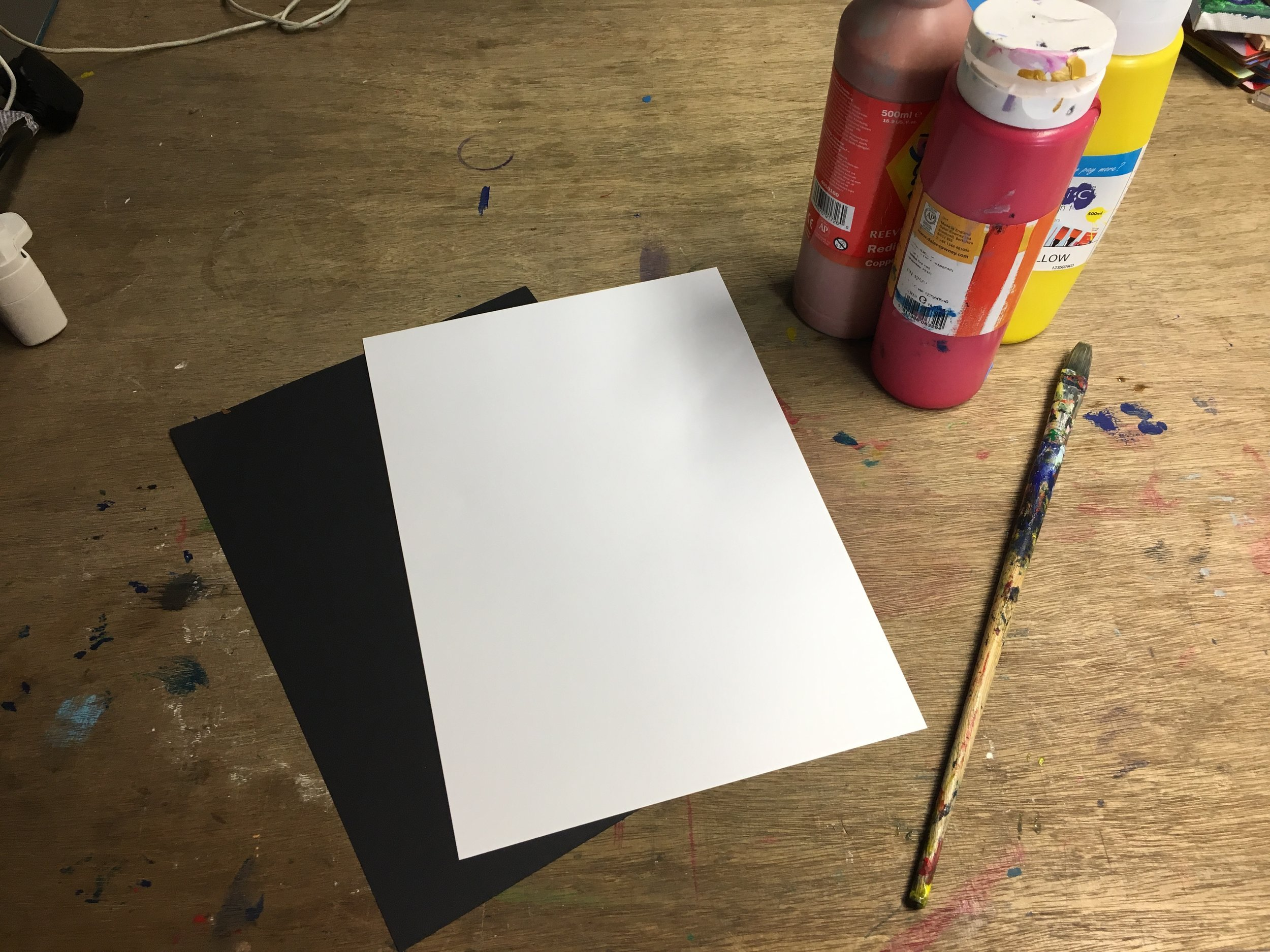 Step 1: - Choose some paper and a few colours of paint