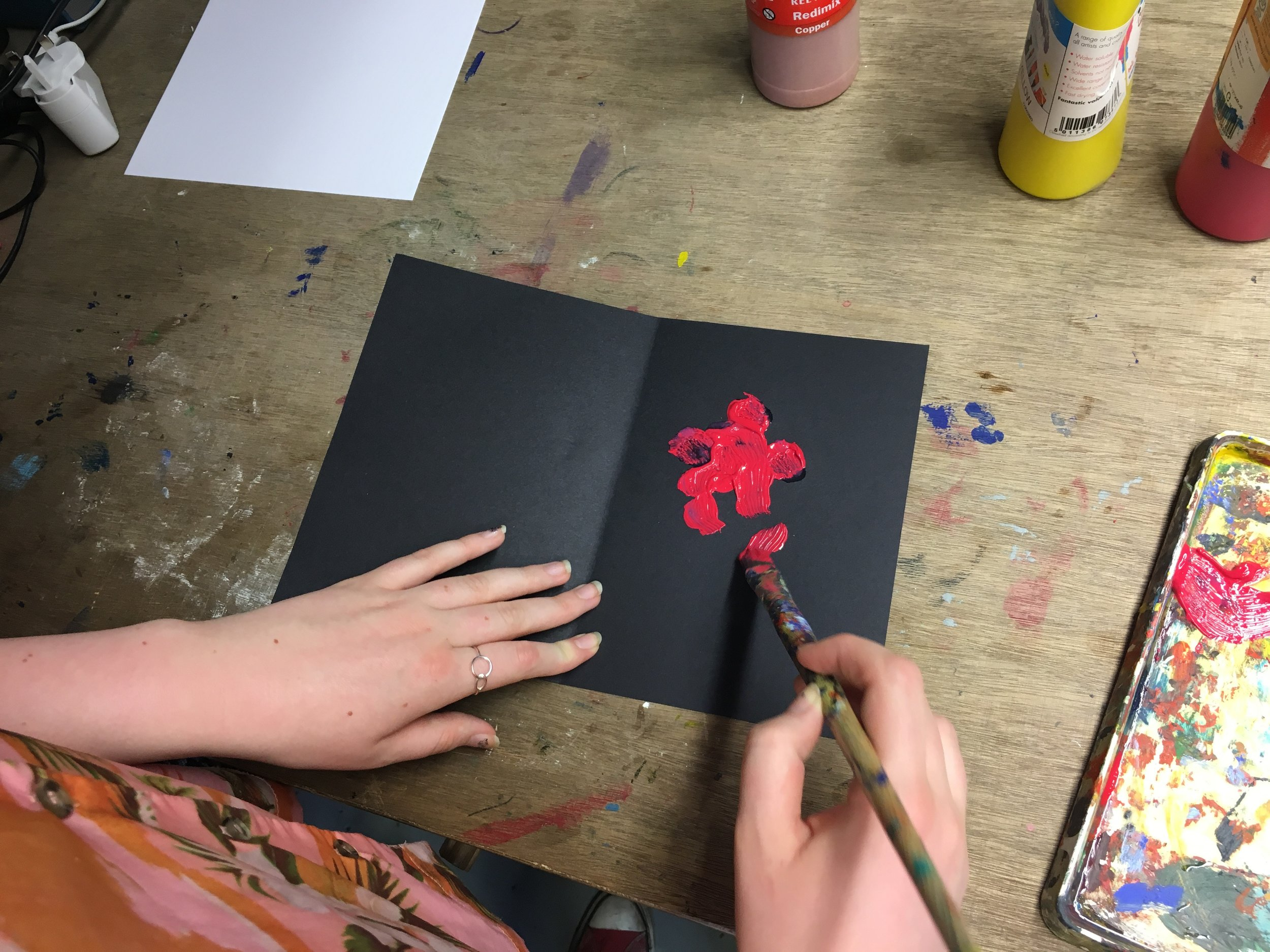 Step 3: - Paint a pattern on one side of the paper
