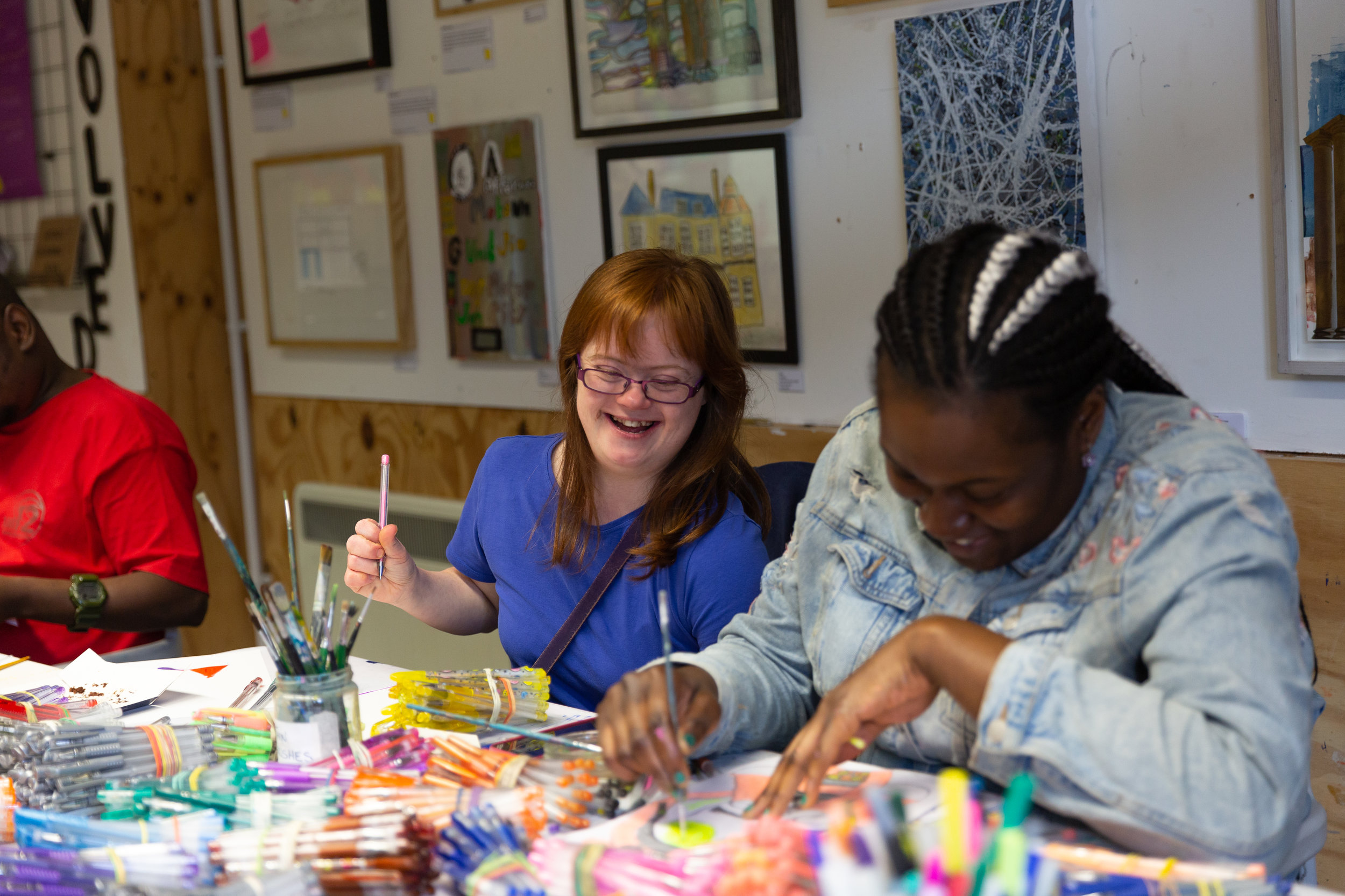 Toyin and Lucy working with gel pens. Photo courtesy of Catarina Rodrigues, who was taking photos for City Bridge Trust, our biggest funder.