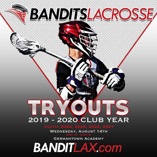 Youth Tryouts are tomorrow for players in the 2024, 2025, 2026 & 2027 grad classes. To register, visit banditlax.com. #BeABandit
