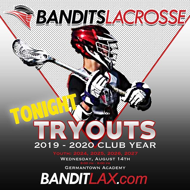 Youth Tryouts are tonight for players in the 2024, 2025, 2026 & 2027 grad classes. There is still time to register. Visit banditlax.com. #BeABandit