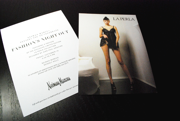 Invitation design for Fashion's Night Out featuring La Perla lingerie.