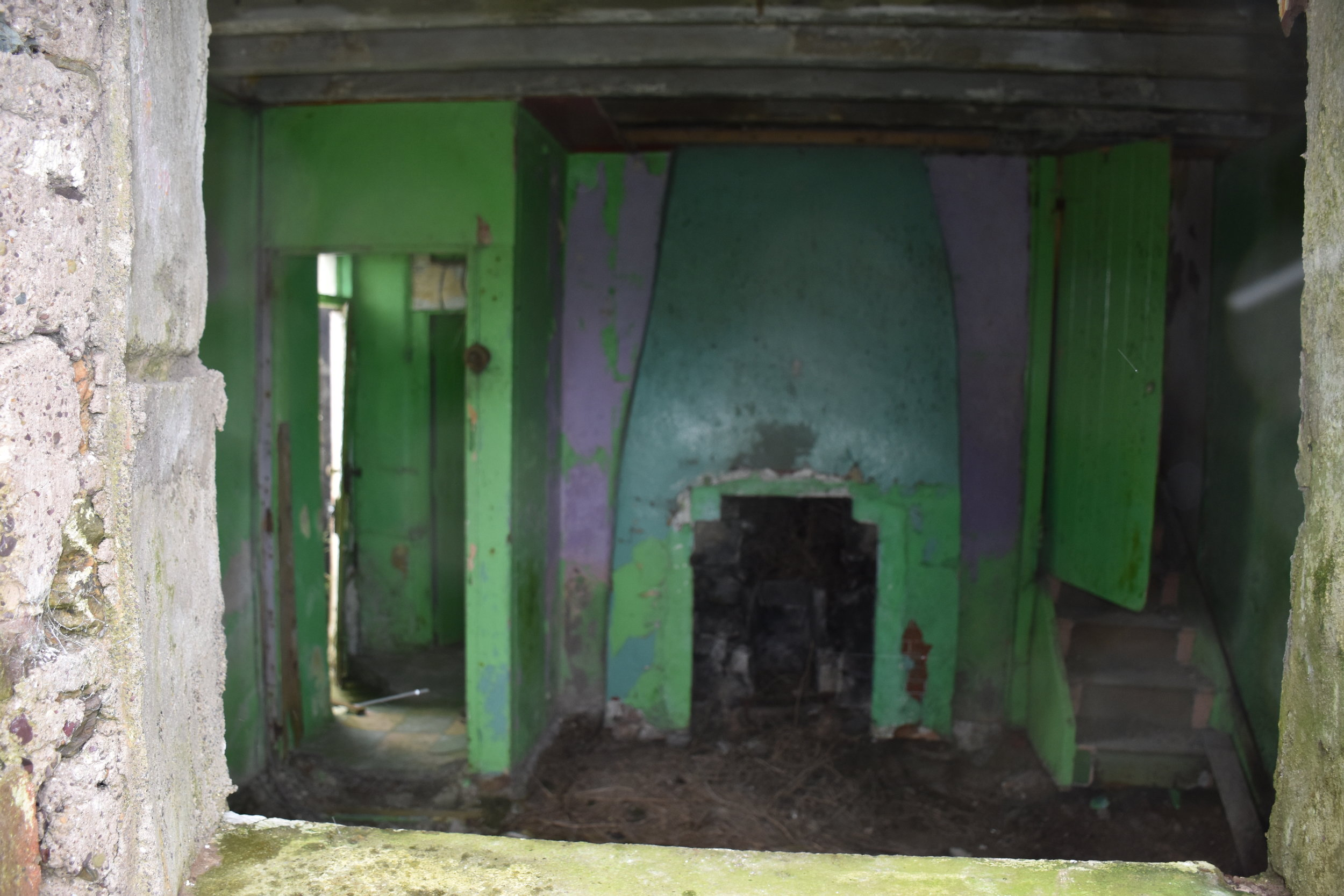 No one has been in this house for a while. The chimney curves to the left. Lavender? And 70's green?