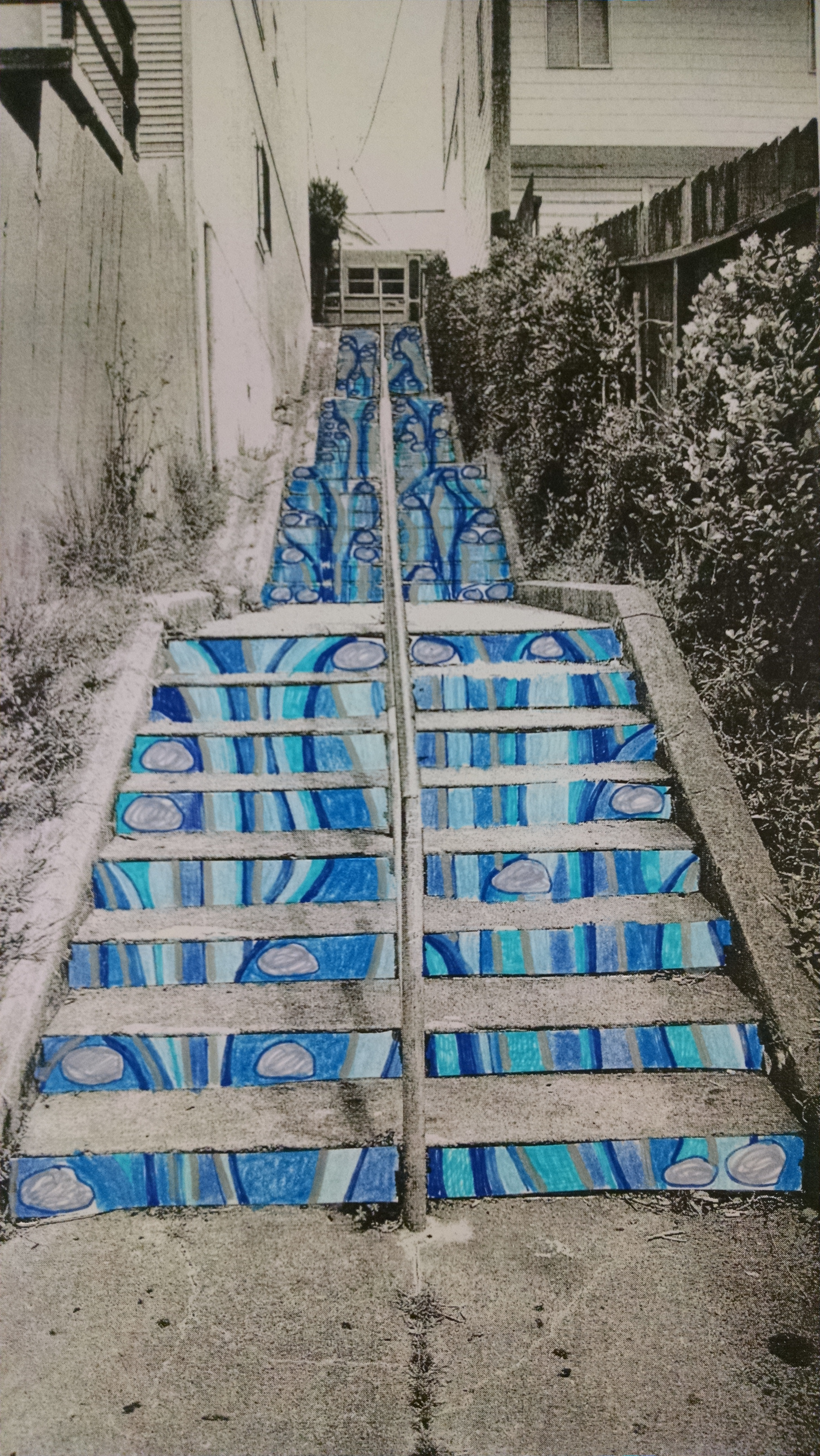 """Revised rendition of """"Waterfall"""" mosaic stairs installation with proposed Donor Tile placement."""
