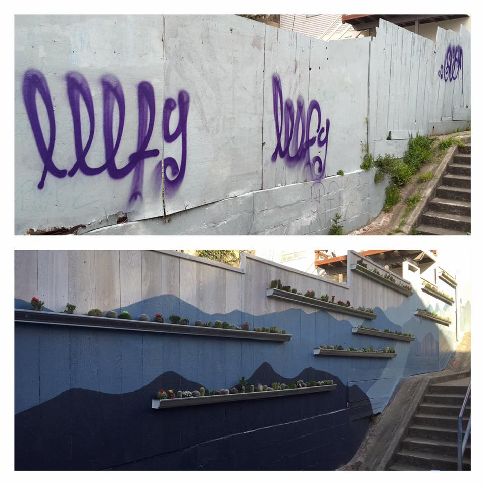 Kenny Alley north wall, before and after addition of vertical garden and mural, April 2016