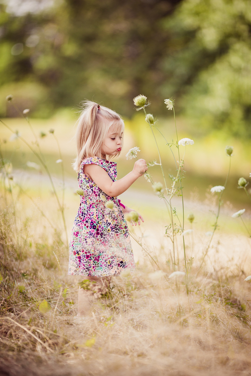 toddler girl smelling flowers | cleveland kids photographer