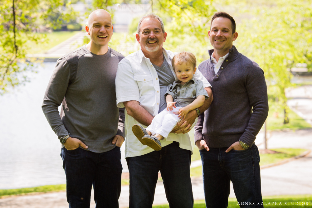 grandpa, son and grandson in park   cleveland OH family photography
