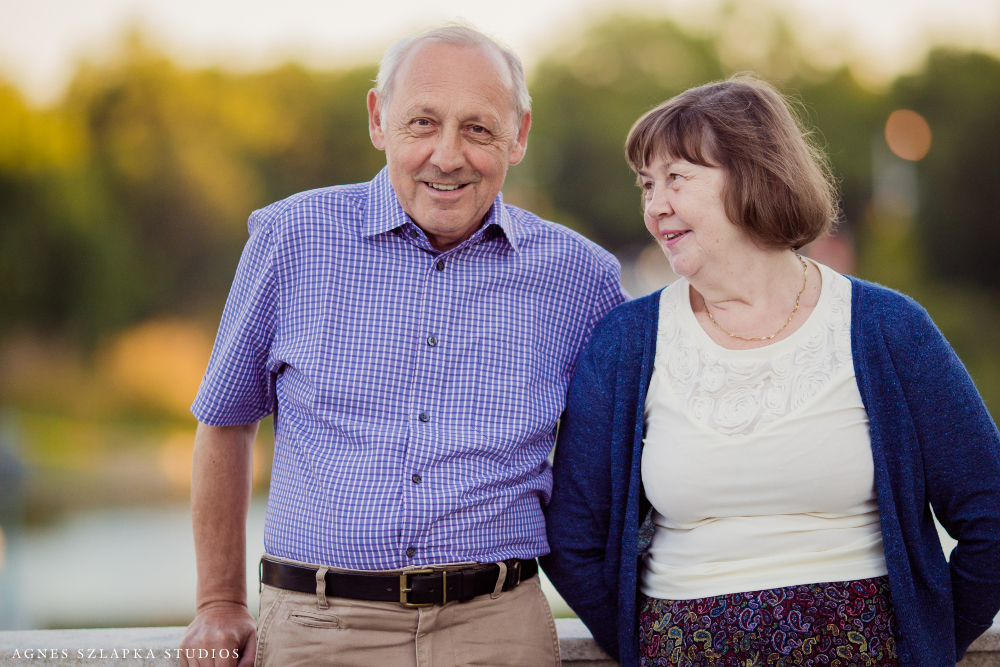 grandparents smiling at each other in museum | northeast ohio family portraits