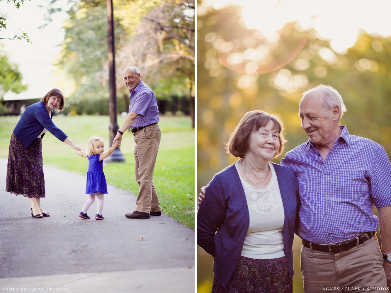 grandparents walking in park with toddler girl | cleveland family portraits
