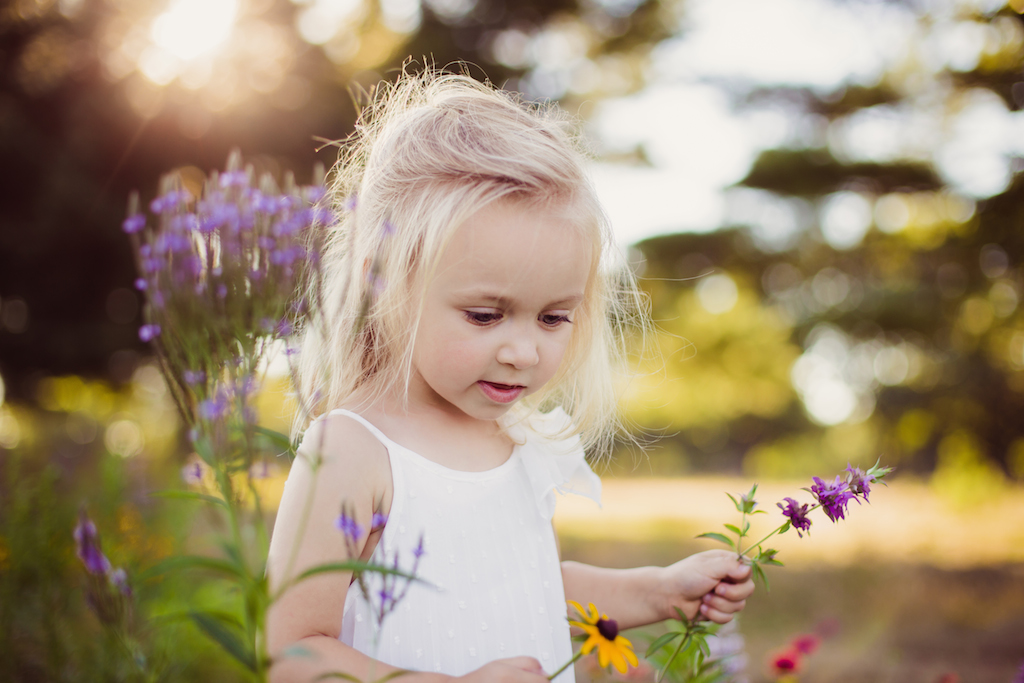 little blond girl picking flowers | cleveland ohio kids photography
