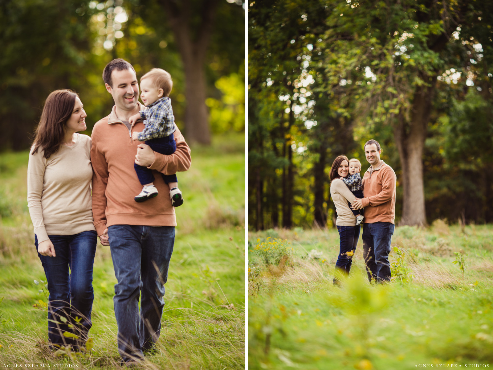 family of three walking on grass-9 month old baby boy | cleveland, ohio portrait photographer